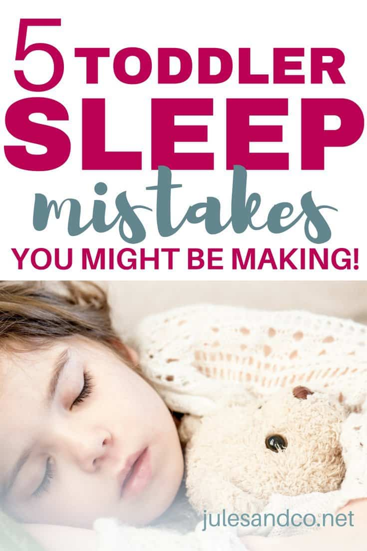 Is your toddler bedtime routine a battle every single night? You might be making one of these toddler sleep mistakes. Trust me, I did everything wrong at first when it came to my toddler's sleep habits. Are you making the same mistakes I did at first? Read on and get started on claiming your evenings back!