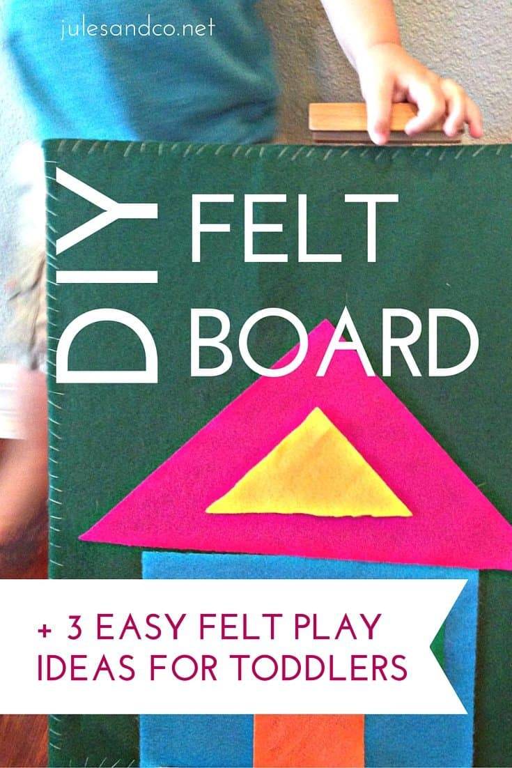 Learn how to create a custom DIY felt board for your kids! Felt play is the perfect solution for independent and quiet playtime. Make your own felt board, plus read about three simple early learning activities you can do with your toddler using felt! Click through to get the tutorial!