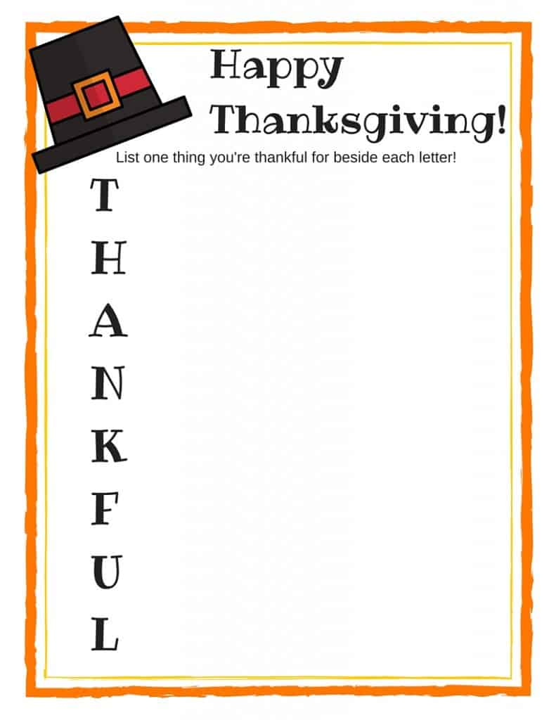 Thanksgiving FREE PRINTABLE Acrostic Poem | julesandco.net