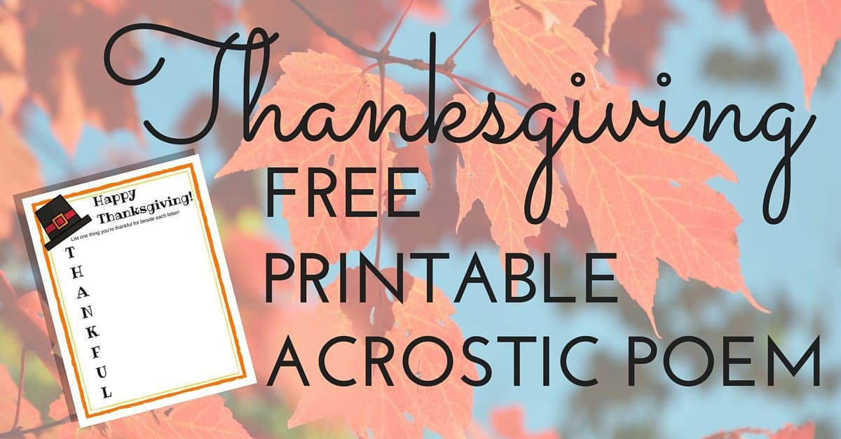 Thanksgiving FREE PRINTABLE Acrostic Poem
