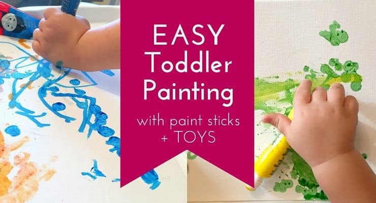 Invitation to Paint: Easy Toddler Painting with Paint Sticks and Toys