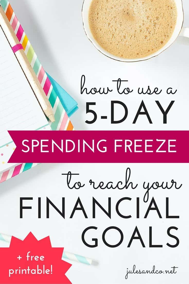 Taking on a spending freeze is a great way to build up your savings. But if you're like me, you're overwhelemed by the idea of freezing spending for a whole month at a time! Try a 5 day spending freeze instead! I'll show you how spending zero dollars from Monday- Friday can help you save money fast! Get my free printable planner to start saving money this week!