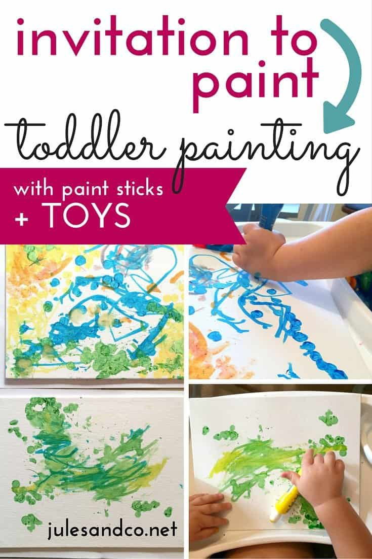 Are you overwhelmed when you think about letting your toddler paint? Try this easy toddler painting project! This invitation to paint is all about process art. Use paint sticks and toys for a simple, stress-free toddler art project.