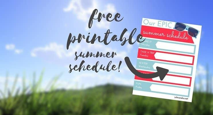 Summer Schedule FREE Printable
