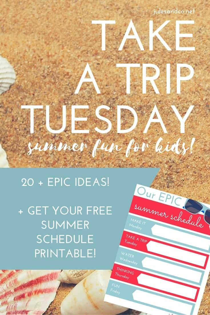 Click through to get your free printable summer schedule! Make this summer one to remember with 20+ epic ideas for Take a Trip Tuesday for kids. Download the free PDF weekly planner for your kids now!