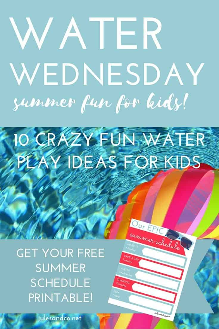 Click through to get your free printable summer schedule! Cool off this summer with 10 crazy fun water play ideas for kids. Download the free PDF weekly planner for your kids now!