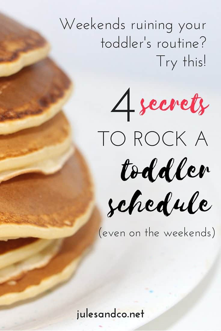 Does the weekend always ruin your toddler's daily routine? Try this! These four secrets will help you rock a toddler schedule even on the weekend PLUS have lots of fun on the way. Don't miss these toddler scheduling tips! Read on to get the scoop.