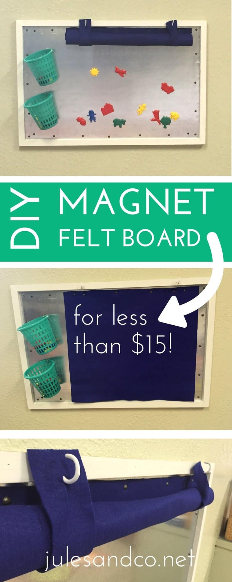 Make a DIY magnet felt board on the cheap! Yes, you can use dry erase markers on this too! Perfect for toddler and kid play spaces. Click through to get the tutorial!