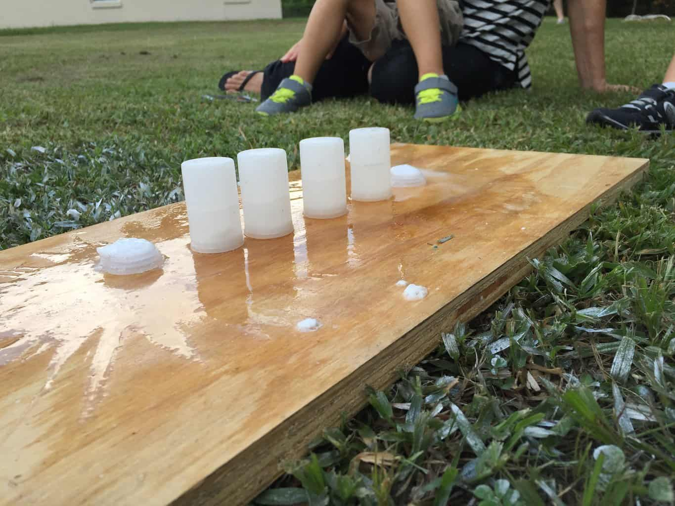 This was the best part of the day. We made bottle rockets! 1. Fill film canisters halfway with water. 2. Drop in half of an alka-seltzer tab in each canister. 3. Seal the lid and flip over. And...BLAST-OFF! Ours went as least 40 ft. in the air. It was so much fun!