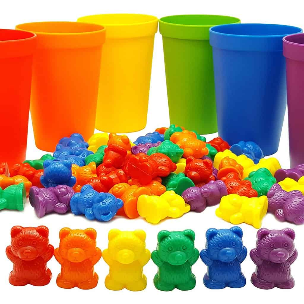 Rainbow Counting Bears with Color Matching Sorting Cups Set | julesandco.net