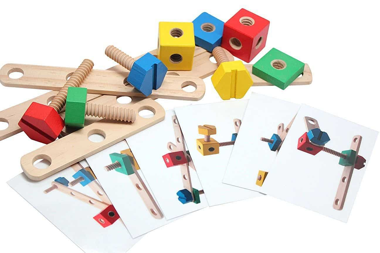 Wooden Construction Set Patterns with Nuts and Bolts | julesandco.net