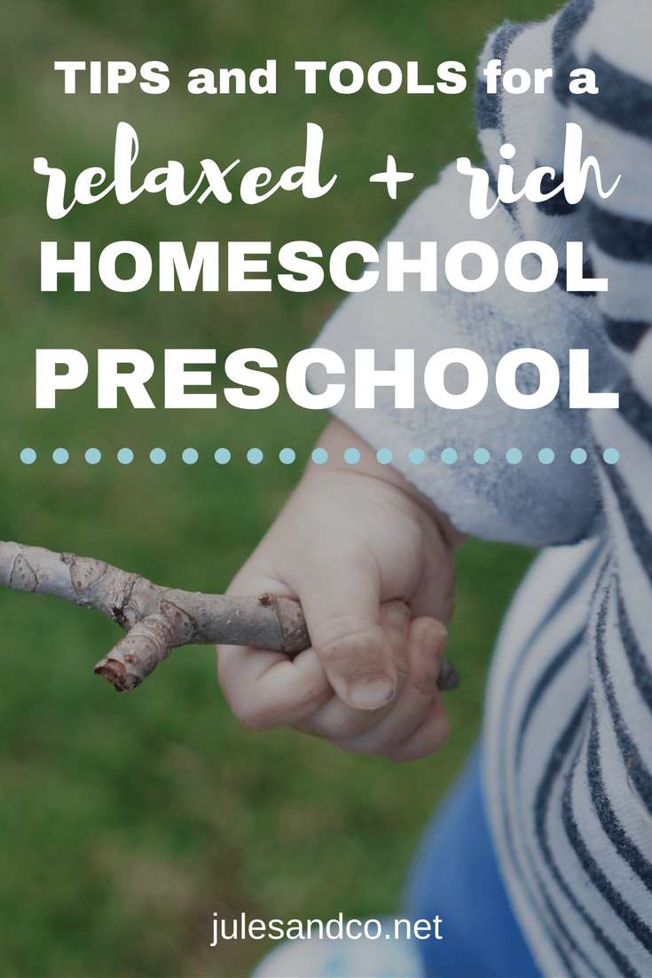 "Overwhelmed with homeschool preschool? Learn how we do homeschool preschool the relaxed way and still get real learning done! I'll give you a hint: it doesn't look much like ""school."" It looks like life! Click through to steal our top tips and tools for homeschool preschool!"
