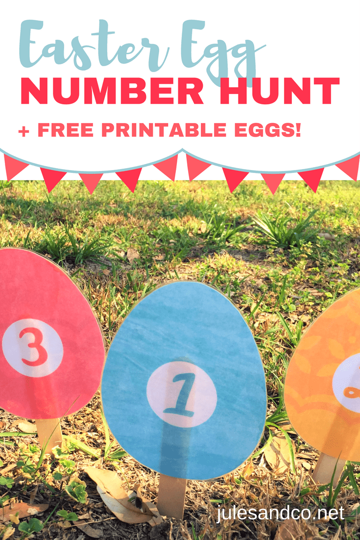 Celebrate Easter with gross motor math fun! Get ready for an Easter egg number hunt in your backyard. Download these Easter printable eggs, and get the kids outside for this toddler and preschooler number and counting game!