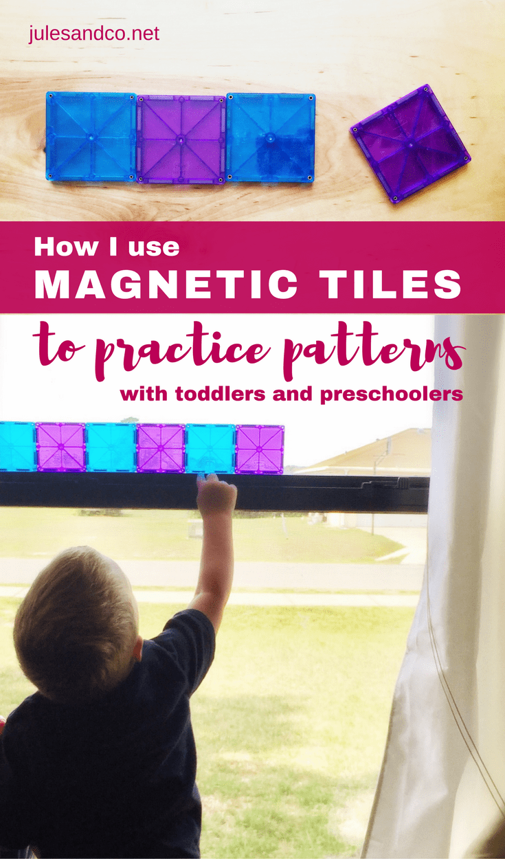 Practice patterns with your toddler or preschooler! We love using our magnetic tiles for hands on learning activities. Check out how we learn to create patterns with our favorite magnetic tiles ideas for kids!