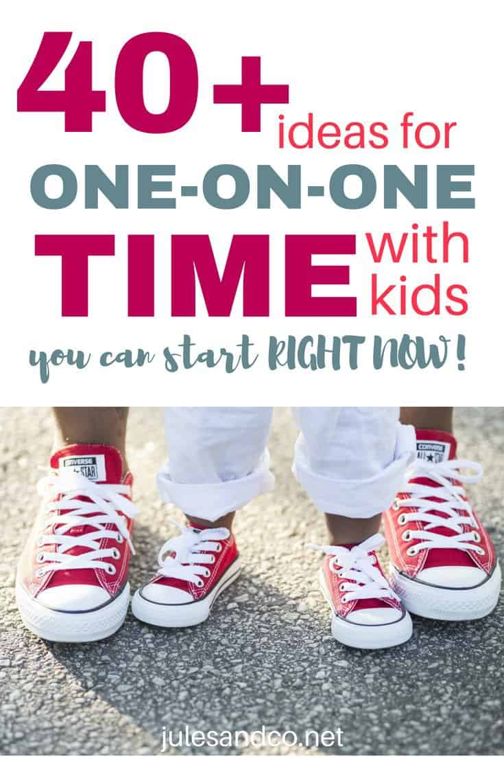 Spending one on one time with your children is so important, especially if you have a large family. You can make each child feel important with individual mommy and me dates. Think you don't have time to make it happen? Don't worry! These one on one time with kids ideas are simple, inexpensive, and FUN! You can start investing in one on one time today. Which idea will you steal first?
