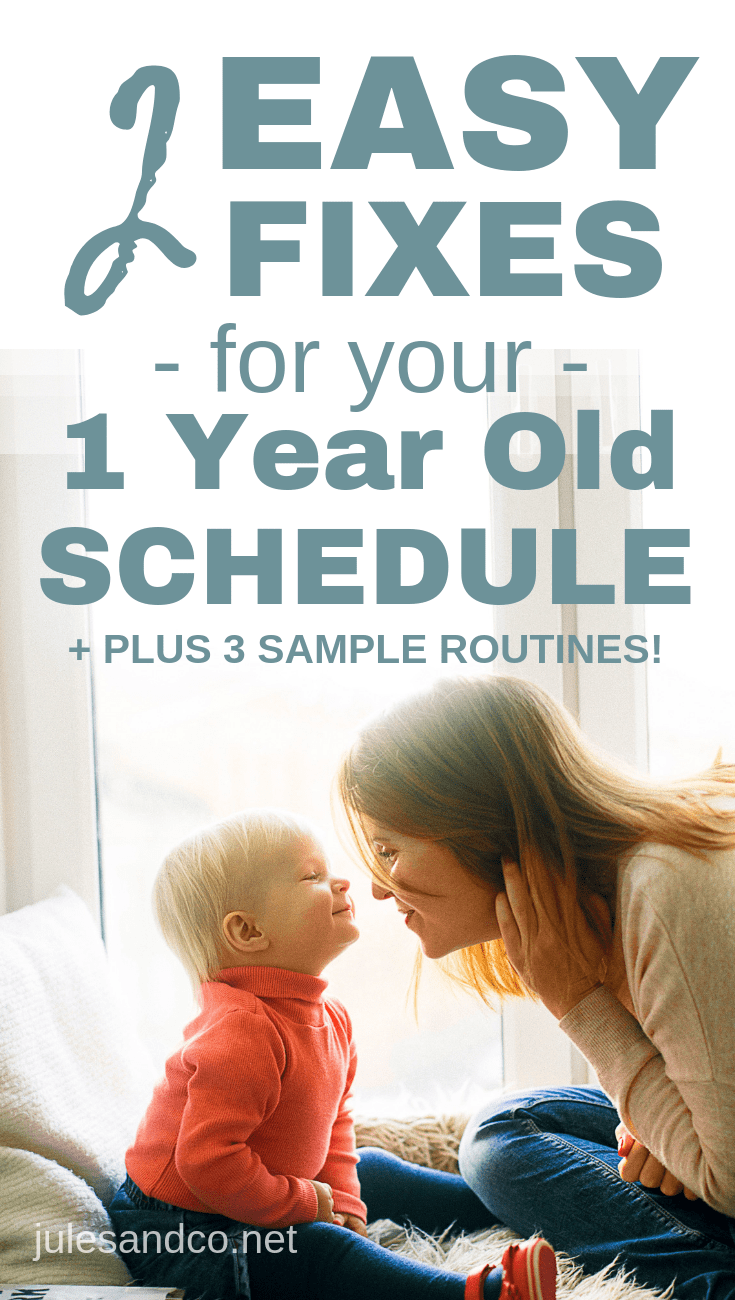 Struggling to create a one year old schedule? Battling naps and bedtime? Cranky toddler all. day. long? You'll love these simple solutions to your one year old's daily routine. Plus steal three sample schedules you can put right to work!