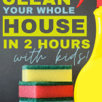 Keeping a clean house with kids can be next to impossible. Just when you get one room clean, a disaster happens in the next room. What you need is a cleaning plan, mama! You can learn how to clean your house in 2 hours, and blast through those chores. I'll even show you how to get your kids to actually help you clean! Grab the free printable cleaning plan below!