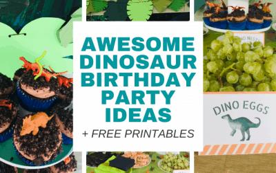 Easy DIY Dinosaur Birthday Party Ideas (Free Printable)